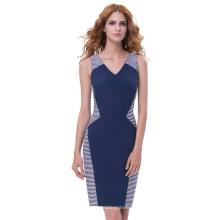 Belle Poque Vintage retro sin mangas con cuello en V Hips-Wrapped azul marino Bodycon lápiz vestido BP000333-1