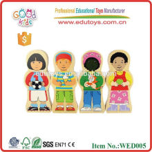 2015 good wood figure wooden magnetic puzzle for kids