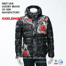 2017 Soft Shell Men Short Hoody Down Coat Embroidery Printing