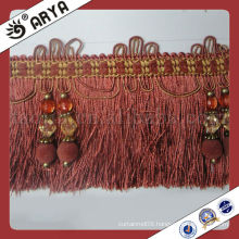 Brick Red Tassel Fringe With Beads For Curtain Valances Tapestry Drapery Mosquito Net