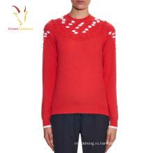 Дамы кашемир вязаный свитер с вышивкой женский
