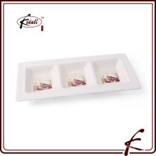 ceramic tableware tray plate rectangular three trays western dish