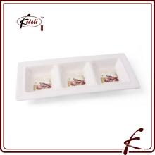 Cerâmica utensílios de mesa bandeja prato rectangular três bandejas prato ocidental
