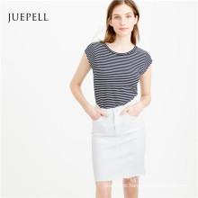 Listra de algodão mulheres camiseta