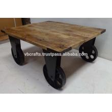 vintage industrial cast iron wheel coffee table