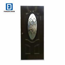 Venda quente Fangda 32-em vidro decorativo inswing aço porta externa