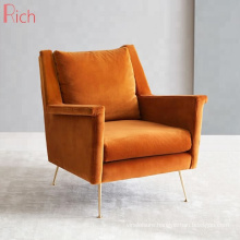 Wholesale Home Furniture Wing Back Chair Modern Orange Velvet One Seater Couch