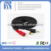 Preço barato 3.5mm a 2rca av cabo audio 50ft