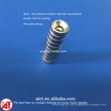 Dia.3/8x1/8inch N35 Nickel Beschichtung Senker Magnet M4 Schraubenloch