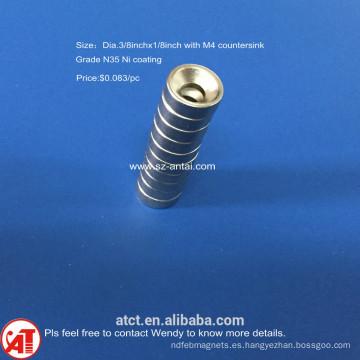 Dia.3/8x1/8inch N35 níquel capa avellanado imán M4 orificio para tornillo