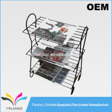 OEM design Professional black metal wire record holder magazine newspaper display rack