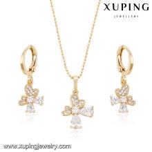 63954 billig modeschmuck made in china 18 karat weißer zirkon stein eleganter ohrring und anhänger vergoldet schmuck-sets