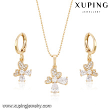 63954 cheap fashion jewelry made in china 18k white zircon stone elegant earring and pendant gold plated jewelry sets