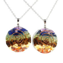 Natural Crystal Crushed Stone Orgonite Double Helix Energy Chakra Crystal Healing Aogang High Frequency Energy Stone Fashion Pendant Necklace