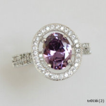 Fashion 925 Sterling Silver Adjustable Ring With Purple CZ Stone Jewelry