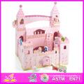 2014 New Cute Kids Wooden Castle Toy, Popular Pretend Toy Children Wooden Castle, Hot Sale Girls Pink Baby Wooden Castle Factory W06A054