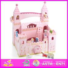 2014 nouveau jouet en bois de château d'enfants mignons, jouet en bois populaire de château d'enfants de jouet, vente chaude de filles en bois de château de bébé de bébé rose W06A054