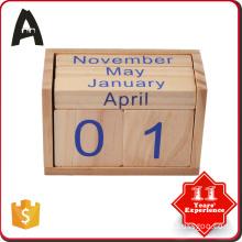 Fine appearance wooden perpetual english arabic desk block wooden calendar