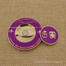 Custom Soft Enamel 3D Metal Coin Golf Marker Challenge Coin