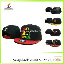 Black baseball cap,flat hat with velcro adjustable custom snapback hats