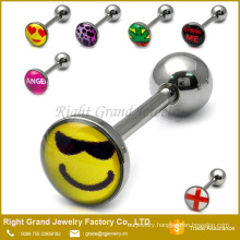Cheap Customized Logo Epoxy Stainless Steel Personalized Tongue Rings