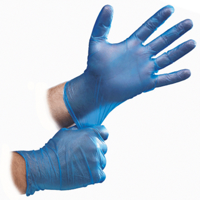 Blue Disposable Vinyl Kitchen Glove Lightly Powdered Medium