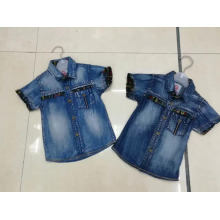 Summer fashion short sleeve shirt kids top sale denim shirt boys Blouses