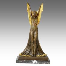 Tänzerfigur Statue übergoldene Dame Bronze Skulptur TPE-148j