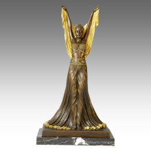 Dancer Figure Statue Overgild Lady Bronze Sculpture TPE-148j