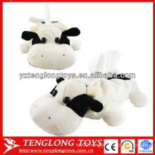 Cute cow shape plush animal tissue box