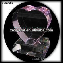 K9 3D Laser Rose Cristal Coeur avec Base