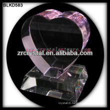 K9 3D Laser Pink Crystal Heart with Base