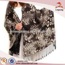 Cashmere Quality Silk Brushed Lady Leopard Wide Shawl