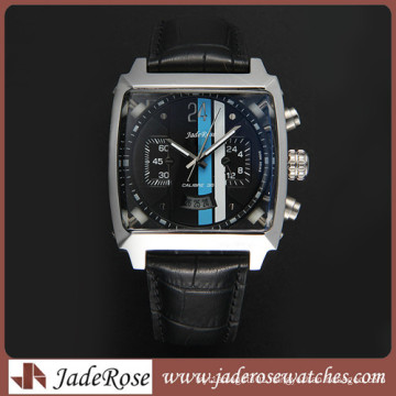 2016 Fashion Stainless Steel Men′s Business Watch with Leather Strap Watch