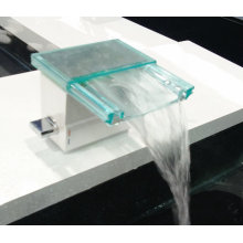 Bathroom Waterfall Basin Faucet with Glass Material