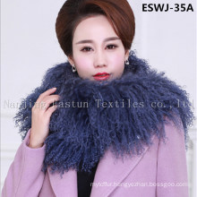 Long Pile Natural Mongolian Fur Scarf Eswj-35A