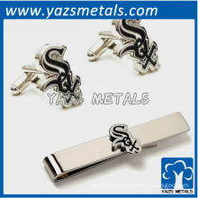 Chicago White Sox cufflinks and tie bar gift set, custom made metal tie clip with design