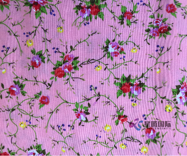 Rayon Printed Fabric Flower Patttern
