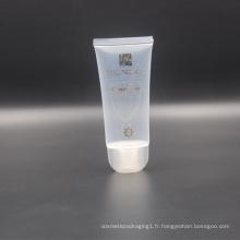 65ml clair transparent cosmétique en plastique nettoyant facial tube d'emballage