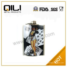 Semi-water transfer stainless steel hip flask with poker pattern