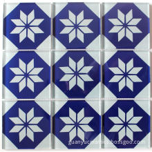 Blue Flower Pattern Crystal Glass Mosaic