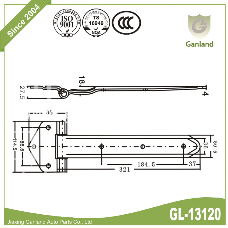 Hinge with non-removable pin gl-13120