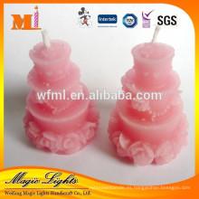 Velas en forma de pastel de cumpleaños de cera de alta calidad