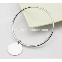 Wholesale Casual shiny high polish silver Charm bangle bracelets for women