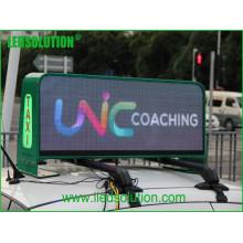 Exposição de diodo emissor de luz exterior do táxi alto do brilho P5 com cor completa