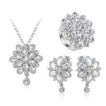 Silver Plated Flower Diamond Bridal Jewelry Sets Wholesale (CST0038)