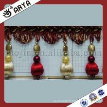 Frange de perles de perles sur le bord du ventilateur pour le rideau