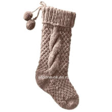 Hand Knit Chunky Christmas Stocking Socks with Hanging Loop Pompoms