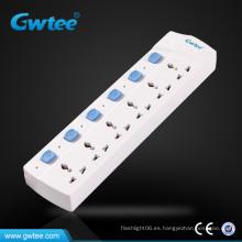 Tira de alimentación eléctrica universal de 6 vías con interruptor individual