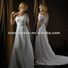 Noble Sheath One Shoulder Court Train Beaded Brooch Pleated Zipper Closure Wedding Dress Bridal Gown
